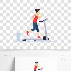 卡通健身跑步的人矢量素材