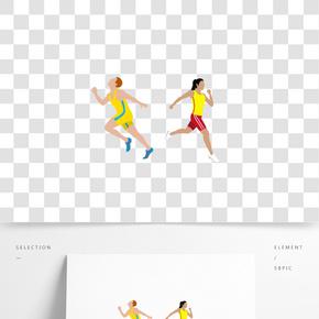 卡通运动跑步的人矢量图