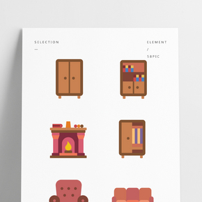 彩色家具設計矢量素材圖片