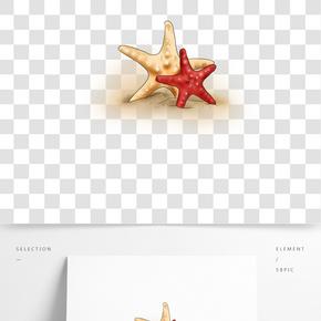 旅游季手繪沙灘上的海星
