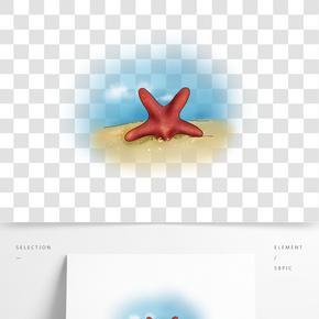 手繪沙灘上的海星