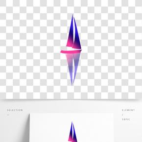 卡通手绘紫色小船船只