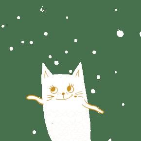 美猫鱼可爱插画带文字素材下载