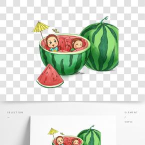 夏天卡通猴子吃西瓜清涼插畫
