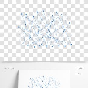 藍色點線線條元素