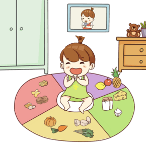 手绘卡通看见吃的开心的小宝宝
