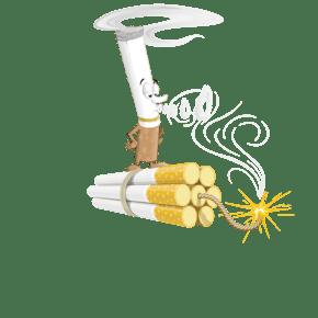 站在香烟炸弹上的香烟恶魔