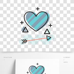 矢量條紋箭頭心形裝飾圖案