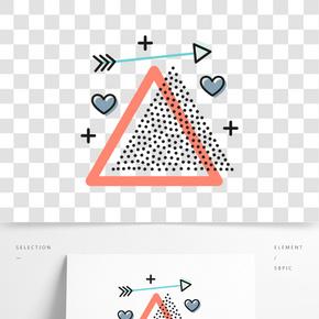 矢量三角形心形裝飾圖案