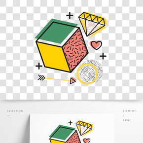 矢量立體鉆石孟菲斯飾圖案