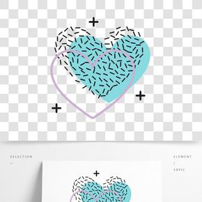 矢量心形愛幾何圖案孟菲斯素材