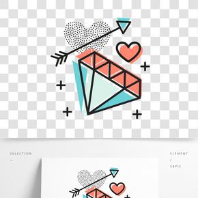 矢量鉆石的心形裝飾圖案