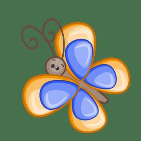手绘卡通蓝色小蝴蝶