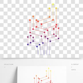 彩色點線科技元素