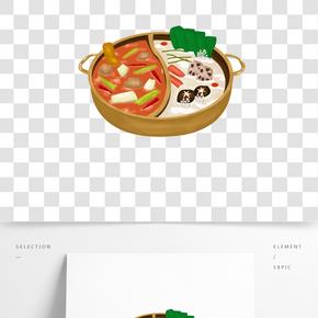 卡通中國傳統美食重慶火鍋