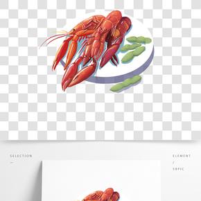 傳統美食廣告海報之卡通小龍蝦