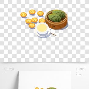 中國傳統美食之手繪美味茶點插畫