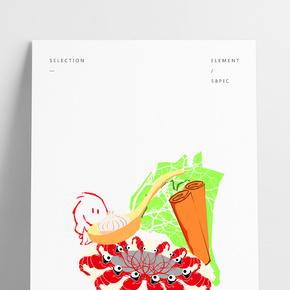 餐飲廣告之手繪美味小龍蝦