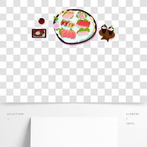 餐飲廣告之卡通日式料理壽司與刺身