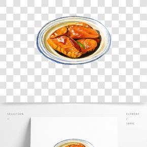 餐飲廣告之美味紅燒雞翅插畫