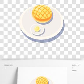 茶樓經典美食之菠蘿包卡通設計