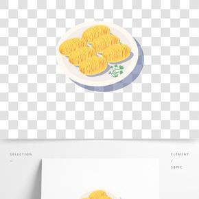 茶樓經典美食之椰蓉包卡通設計