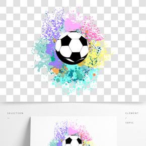 画布上的炫彩足球免抠图