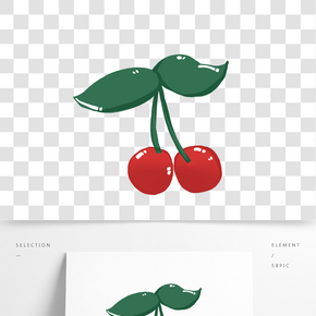 夏季水果紅櫻桃手繪插畫