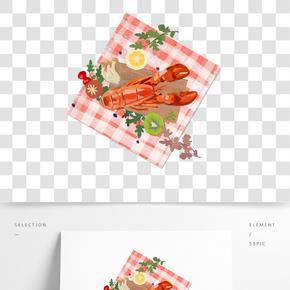 餐飲廣告之美味龍蝦主題卡通