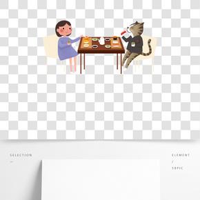餐飲廣告用餐場景可愛卡通