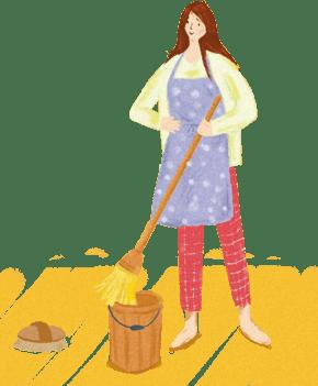 手绘卡通劳动节劳动的妇女
