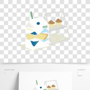 餐飲廣告之牛奶蛋糕主題插畫