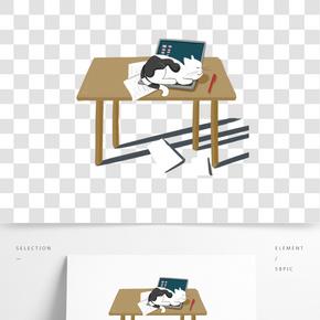 卡通桌子貓咪插畫
