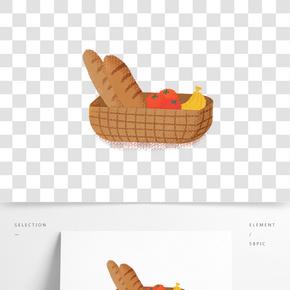 裝面包水果的籃子插畫