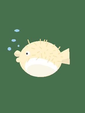 卡通可爱河豚鱼插画
