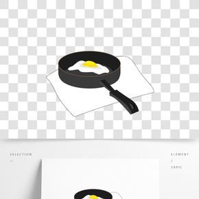 平底鍋煎荷包蛋矢量圖