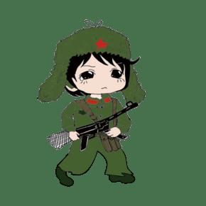 建军节手绘可爱军人卡通形象
