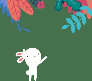 夏季手绘清新大叶植物装饰可爱卡通小兔子<i>矢</i><i>量</i><i>插</i><i>画</i>