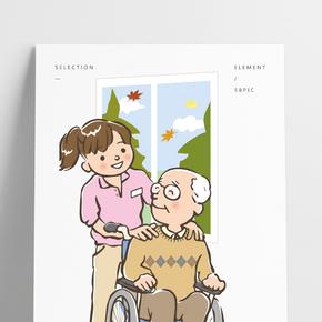 坐輪椅的老爺爺矢量圖