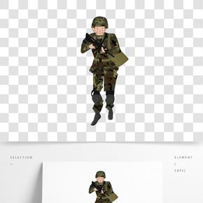 建軍節拿槍背包迷彩解放軍行軍卡通人物