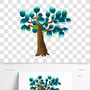 藍色的果實大樹手繪設計圖