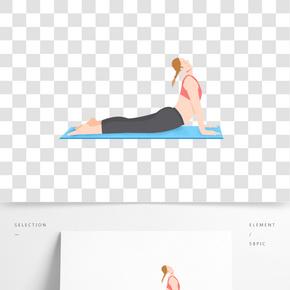 健身運動女生瑜伽小清新歐美風格卡通人物造型免摳圖