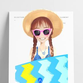 夏季沙灘比基尼少女