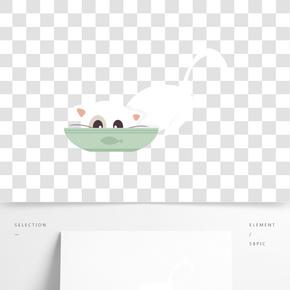 處暑清涼夏天夏季盛夏白色貓咪吃飯手繪插畫psd