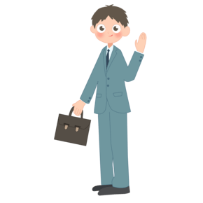 打招呼拎着公文包上班的职员插画PNG