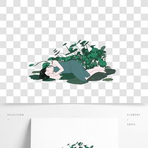 白露綠色系植物荷葉露水手繪插畫沉睡女孩png
