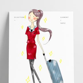 卡通厚涂手繪原創拉行李的上班族美女PNG