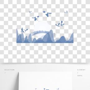 七夕節灰藍色調喜鵲鵲橋