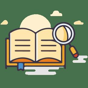 卡通扁平化UI翻阅字典翻开书本知识书籍图标矢量图