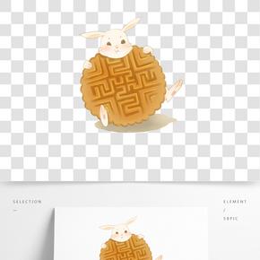 中秋節兔子與月餅主圖PNG素材